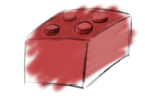 Painting of a lego brick