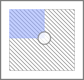 Illustration of the extra rectangle that we use to center the indicator knob on