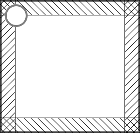 "A rectangle with a circle, and a half-circle-diameter margin indicated at the edges of the rectangle to indicate the ""dead area"""