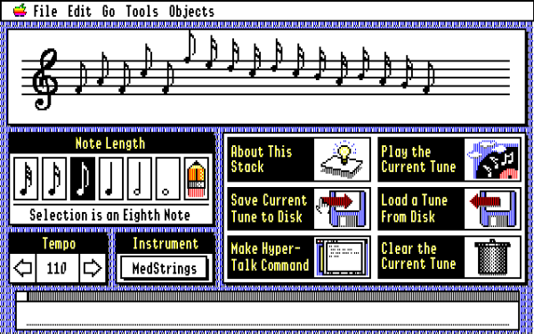 An Apple IIGS music playing stack