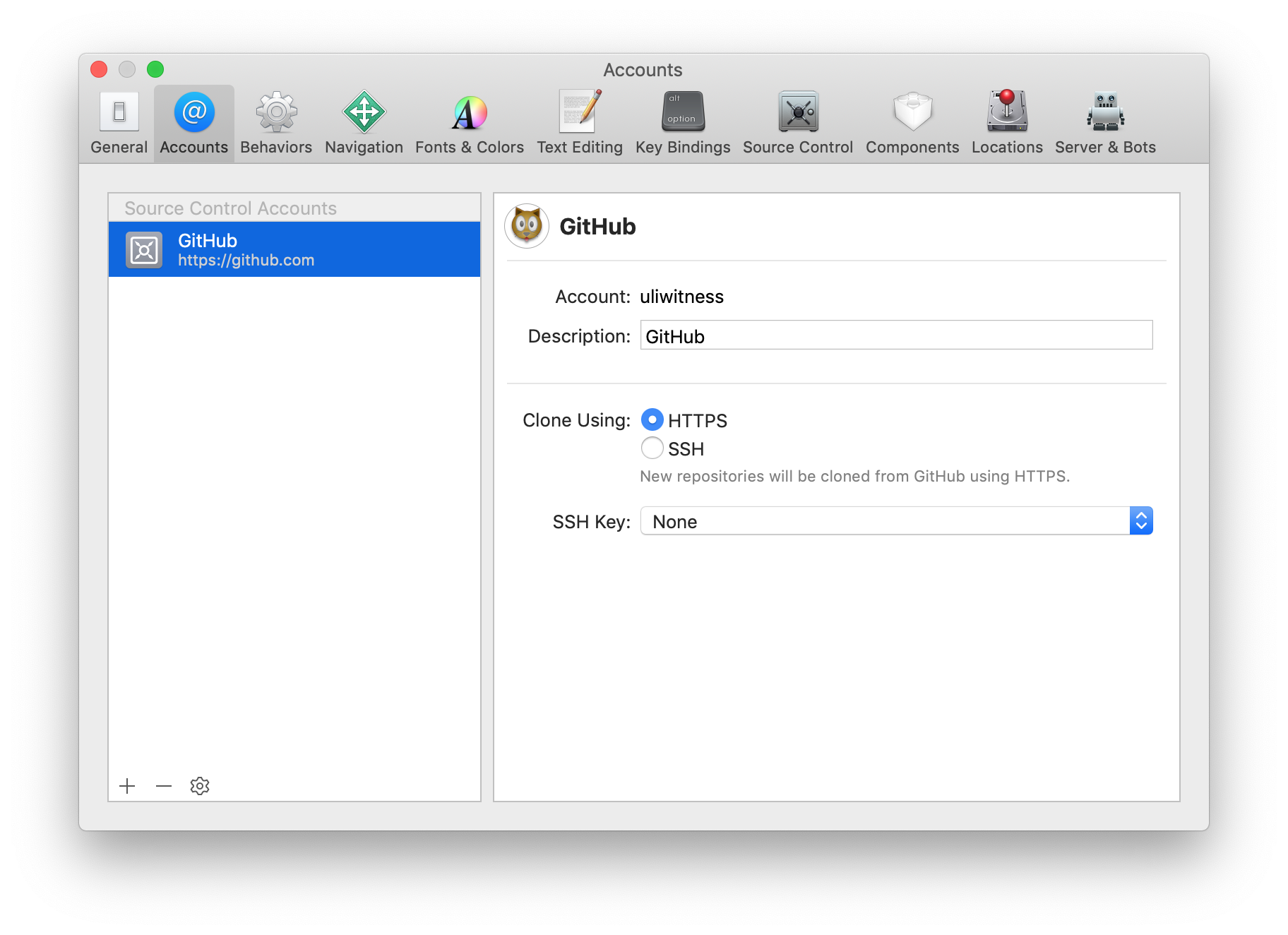 Xcode preferences showing your added account