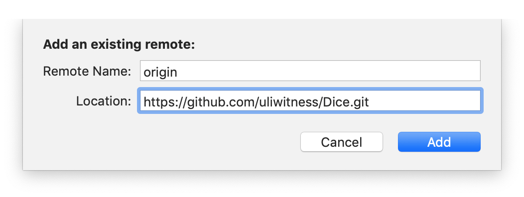 The add existing remote sheet with an HTTPS URL ending in `.git` like most Git repository URLs do