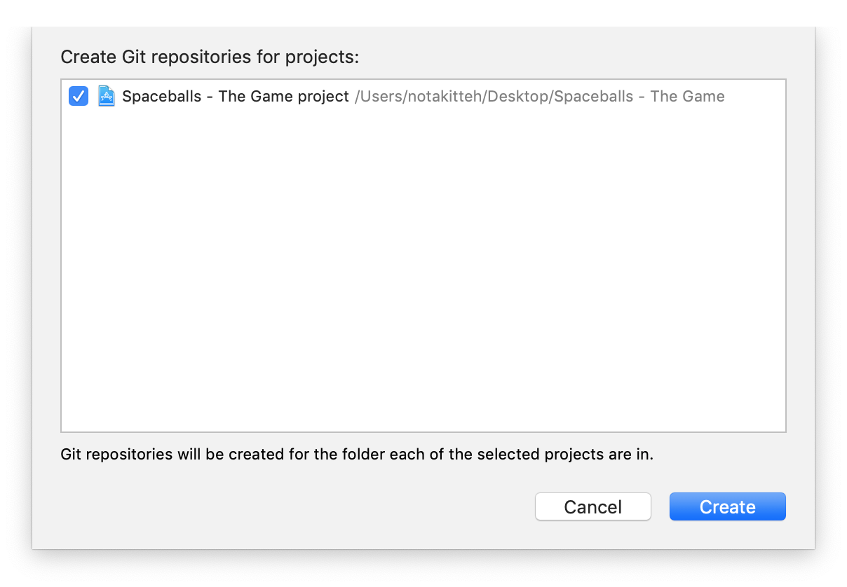 The `Create Git Repositories` sheet with a project check-marked for repository creation.