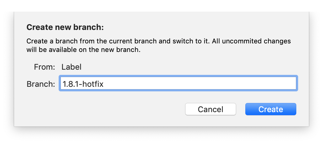 The window for naming your branch