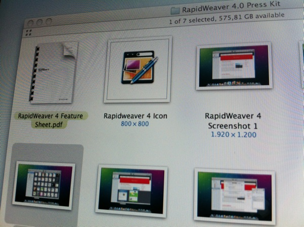 [Screenshot of the folder window for an example press kit by Realmac Software]
