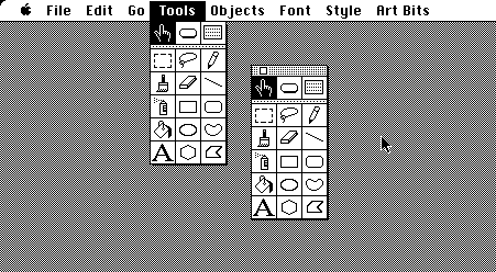 [A tear-off tools menu in HyperCard]