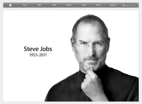 Screenshot of Apple's web site on the day of Steve Jobs's death