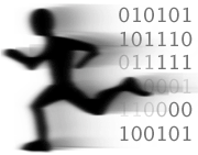 [Image of stylized running human with ones and zeroes in its wake.]