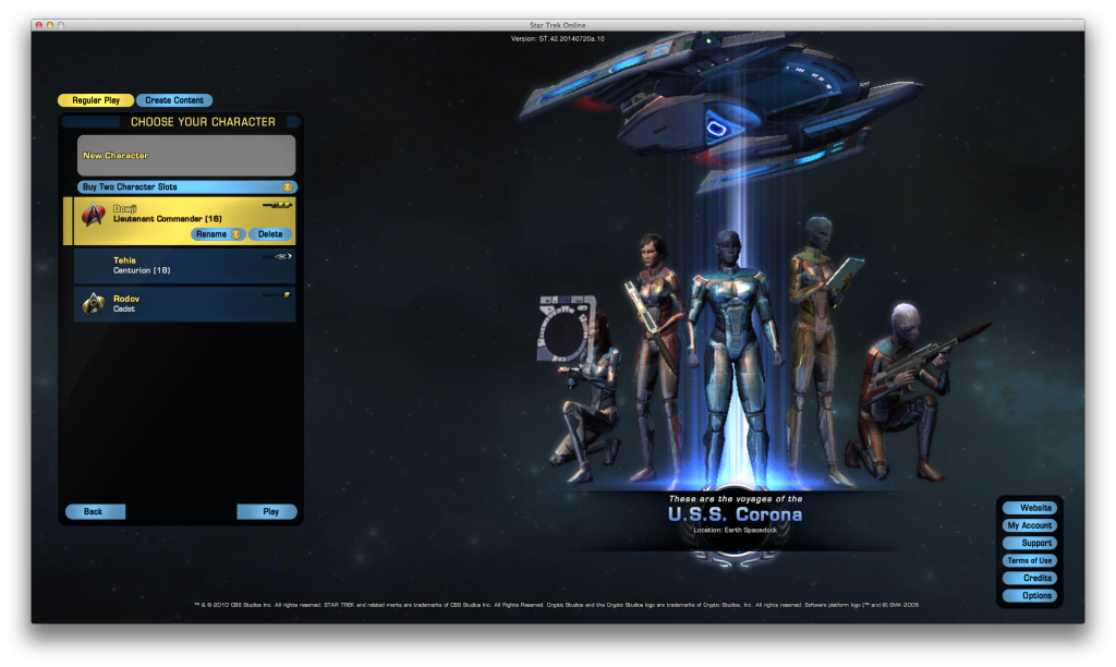 My character selection screen on STO.